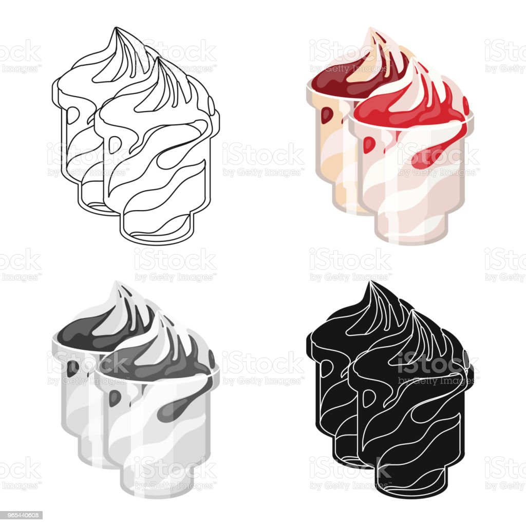 Frozen yogurt with syrup in cups icon in cartoon style isolated on white background. Milk product and sweet symbol stock web vector illustration. royalty-free frozen yogurt with syrup in cups icon in cartoon style isolated on white background milk product and sweet symbol stock web vector illustration stock vector art & more images of art and craft