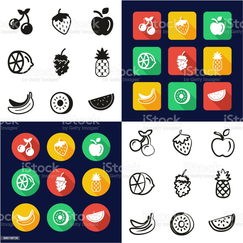 Fruit All in One Icons Black & White Color Flat Design Freehand Set vector art illustration