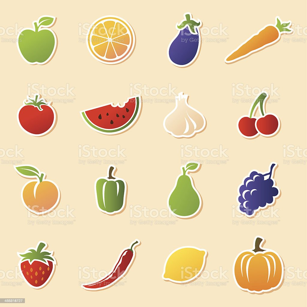 Fruit & Veg Cutouts royalty-free stock vector art