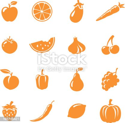 16 individually grouped fruit and vegetable icons. Easy to change colour.