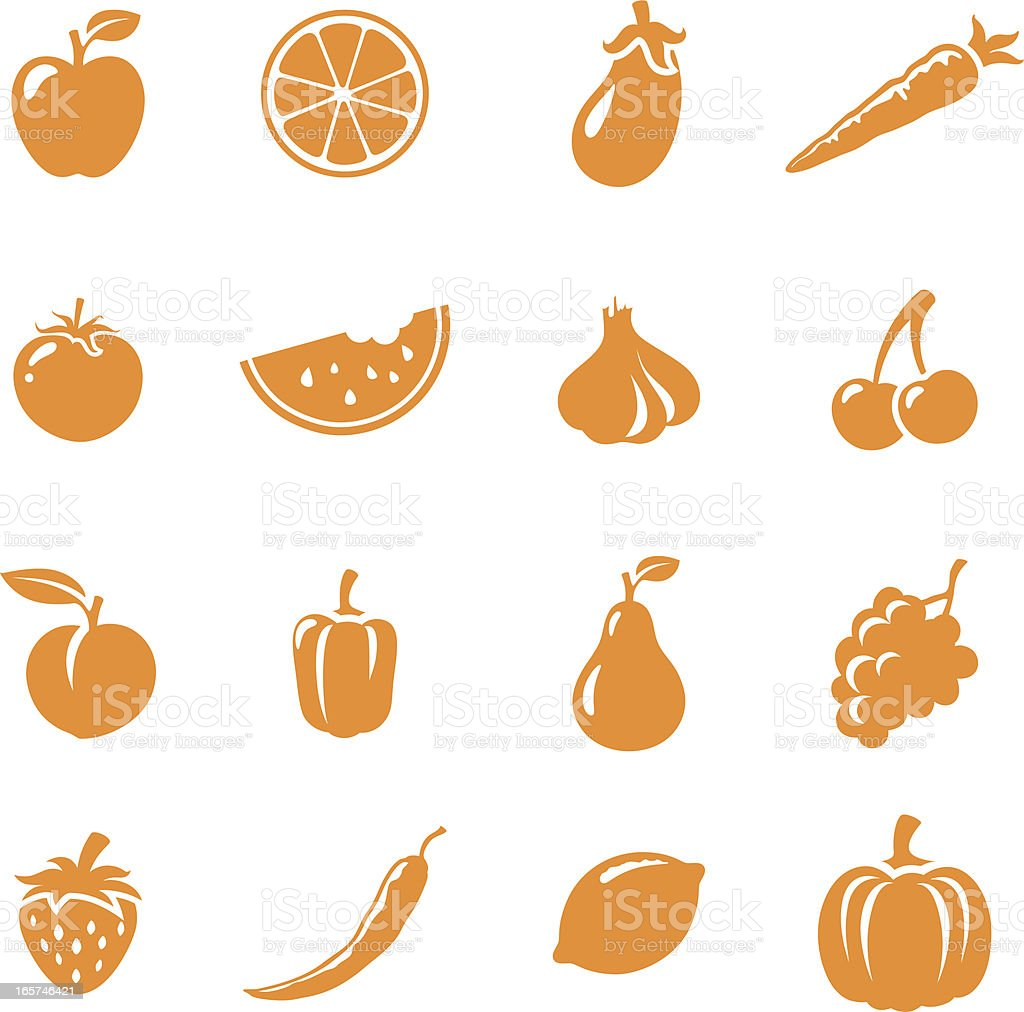 Fruit & Veg Icons vector art illustration