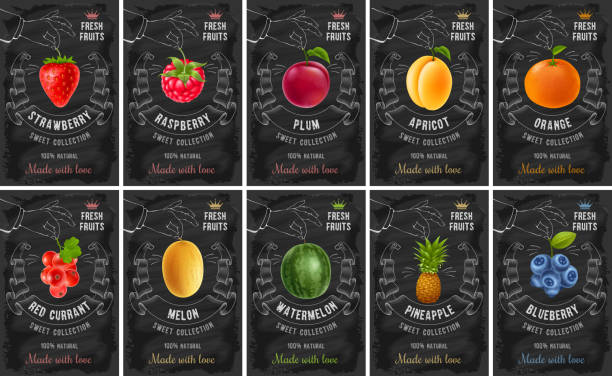 illustrazioni stock, clip art, cartoni animati e icone di tendenza di fruit and berries labels set - fragole