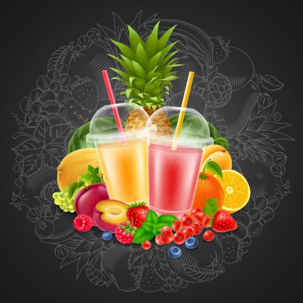 bildbanksillustrationer, clip art samt tecknat material och ikoner med frukt och bär smoothie - smoothie