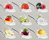 Fruit and berries yogurt. Milk splash. 3d realistic vector icon set