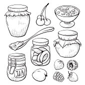 Fruit and berry jam hand drawn illustrations set. Strawberry, apricot sketches pack. Tasty homemade confiture in glass jar isolated cliparts collection. Summer harvest design elements collection