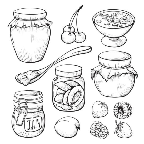 ilustrações de stock, clip art, desenhos animados e ícones de fruit and berry jam hand drawn illustrations set - jam jar