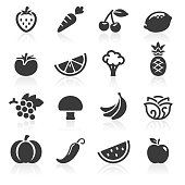 Black fruit and veg icons. Layered and grouped for ease of use.