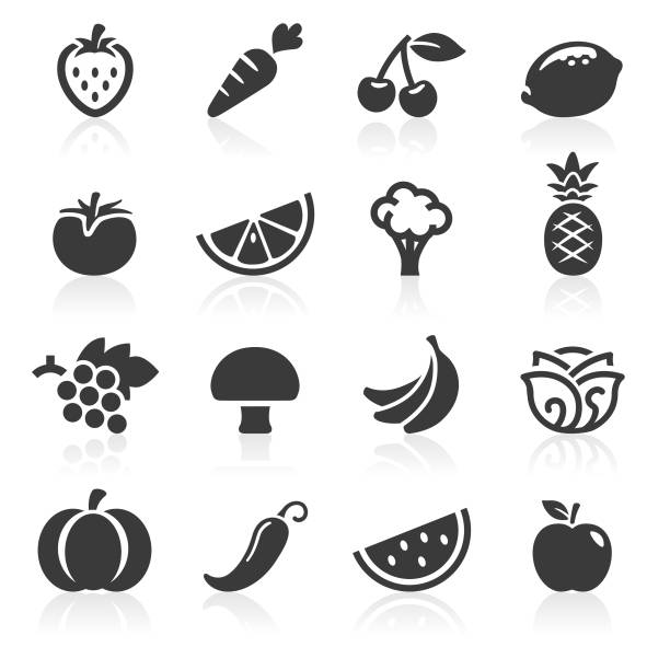 fruit and veg icons - fruit icon stock illustrations, clip art, cartoons, & icons