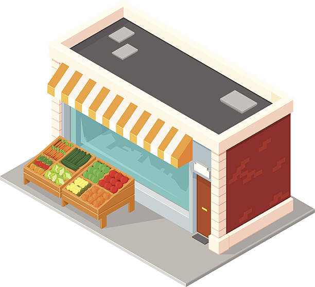 Fruit and Veg Shop A vector illustration of an a green grocer that sells fruit and vegetables. grocer stock illustrations