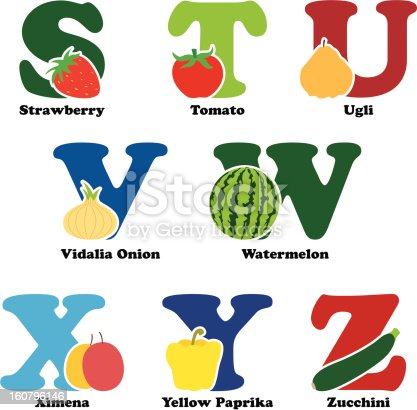 A vector illustration of fruit and vegetables in alphabetical order from S to Z