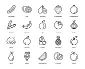 Fruit and Vegetable Icon Set - Thin Line Series