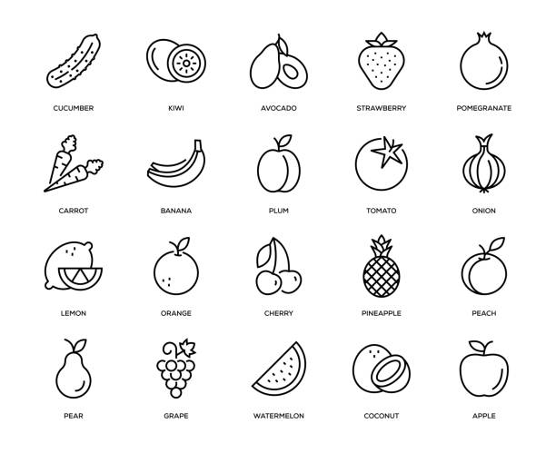 Fruit and Vegetable Icon Set Fruit and Vegetable Icon Set - Thin Line Series lemon fruit stock illustrations