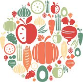 A set of fruit and vegetable icons. See below for a repeatable pattern version of this file.