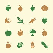 Fruit and Vegetable Icons Set 2 Color Series Vector EPS10 File Icons.