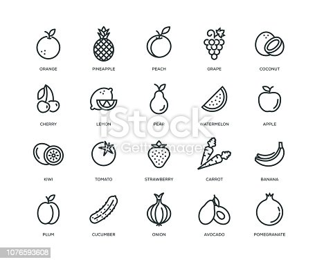 Fruit and Vegetable Icons - Line Series