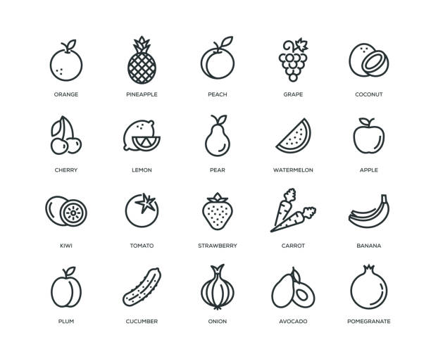 Fruit and Vegetable Icons - Line Series Fruit and Vegetable Icons - Line Series lemon fruit stock illustrations