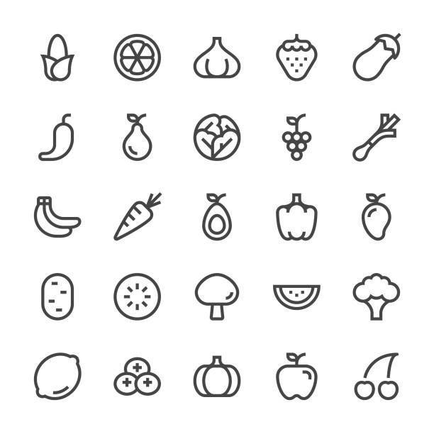 ilustrações, clipart, desenhos animados e ícones de frutas e vegetais ícones - linha mediumx - fruit salad