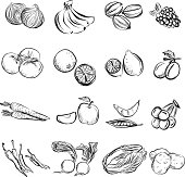 Fruit and vegetable in black and white