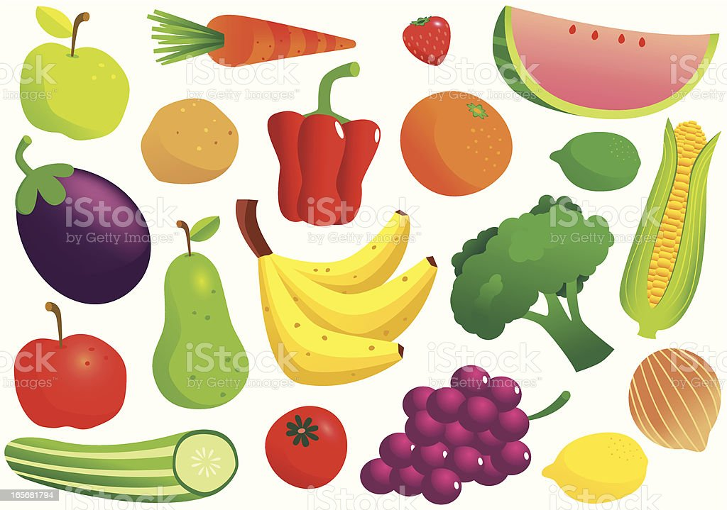 Fruit and vegetable isolated vectors royalty-free stock vector art