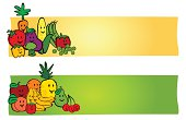 Drawings of fruit and vegetable labels with room for copy.