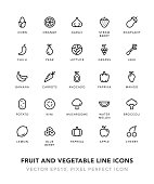 Fruit and Vegetable Line Icons Vector EPS 10 File, Pixel Perfect Icons.