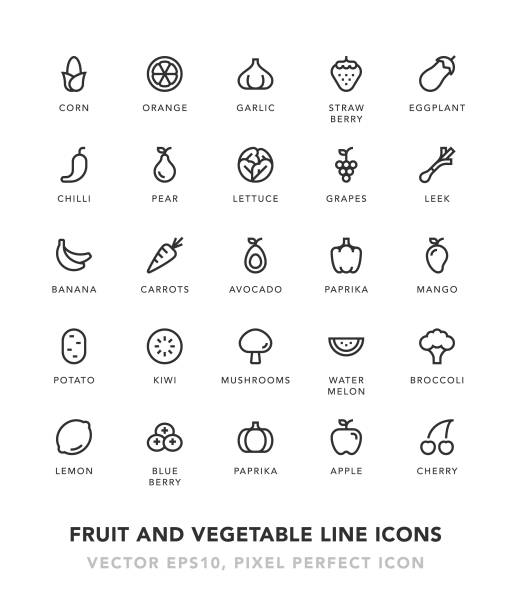 fruit and vegetable line icons - fruit icon stock illustrations, clip art, cartoons, & icons