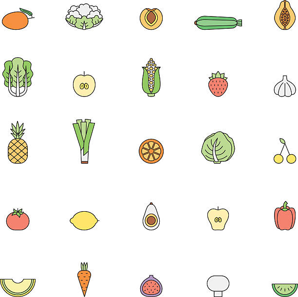fruit and vegetable multicolor outline icon set. part one. - feigensalat stock-grafiken, -clipart, -cartoons und -symbole
