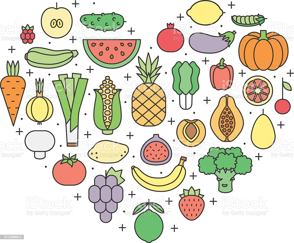 Fruit and vegetable multicolored outline vector heart illustration. Minimalistic design. vector art illustration