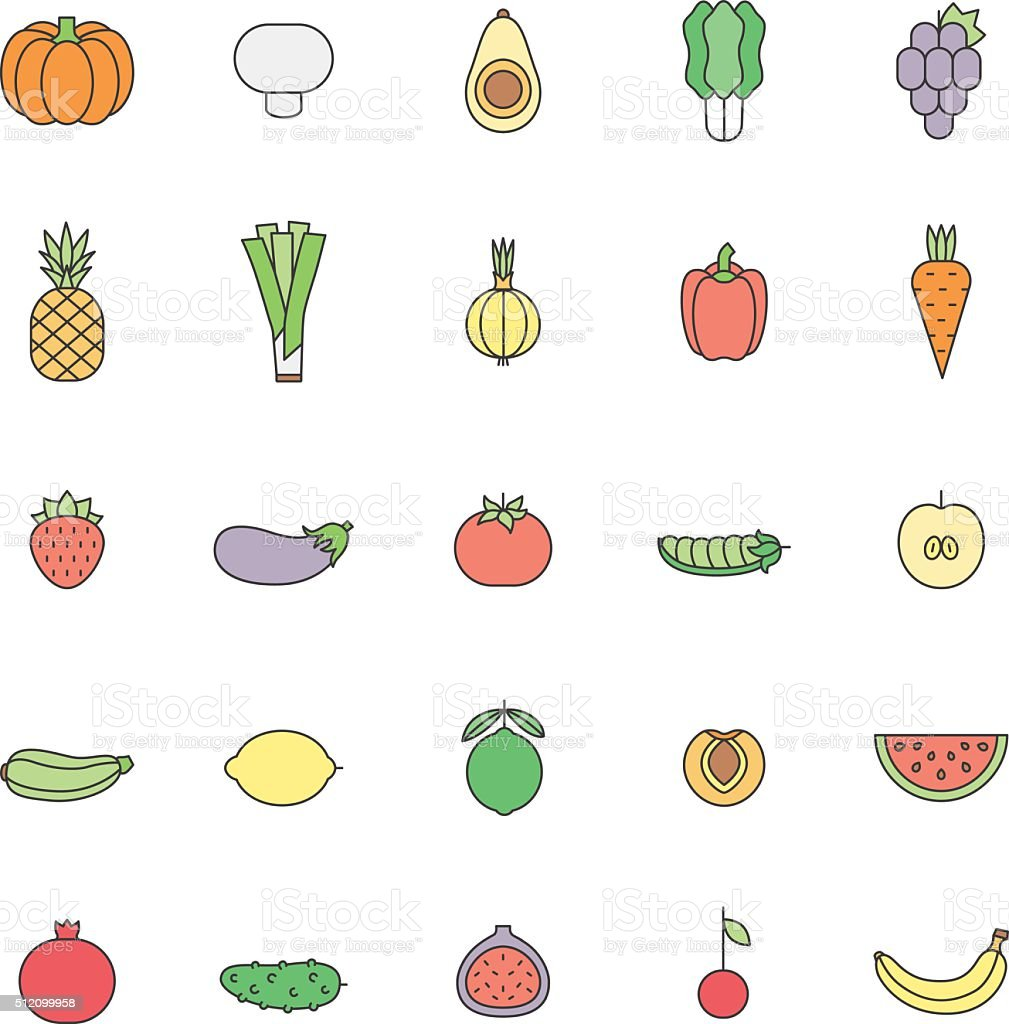 fruit and vegetable multicolored outline vector set minimalistic design royalty free stock vector