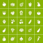 Fruit and Vegetable. Organic food icon set.