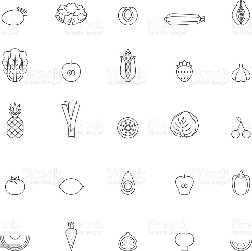 Fruit and vegetable outline icon set. Part one. vector art illustration