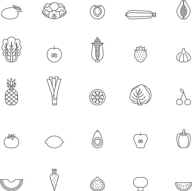 fruit and vegetable outline icon set. part one. - feigensalat stock-grafiken, -clipart, -cartoons und -symbole