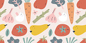Fruit and vegetable pattern, seamless vector background, tomato, pear and carrot with garlic. Trendy flat hand drawn art in earthy colors, ornament for kitchen textile, restaurant menu or fabric