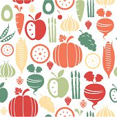 A repeatable pattern of fruit and vegetables. See below for an icon set version of this file.