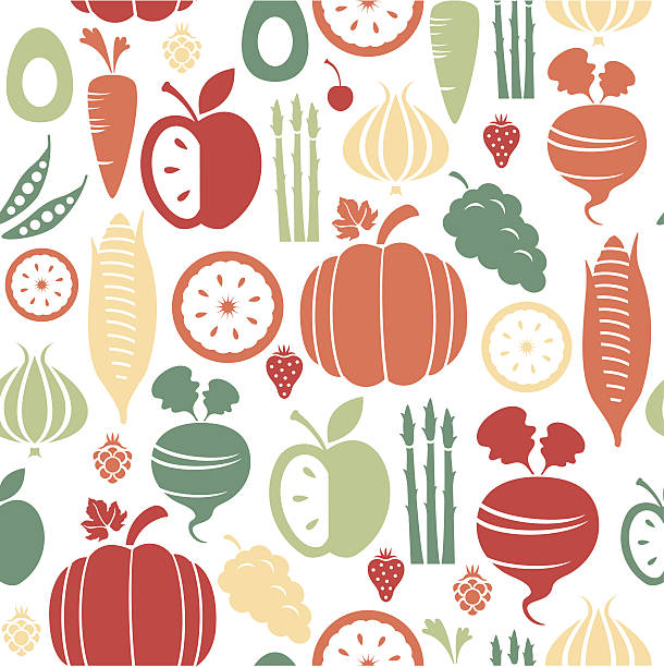 Fruit and Vegetable Pattern A repeatable pattern of fruit and vegetables. See below for an icon set version of this file.  avocado silhouettes stock illustrations