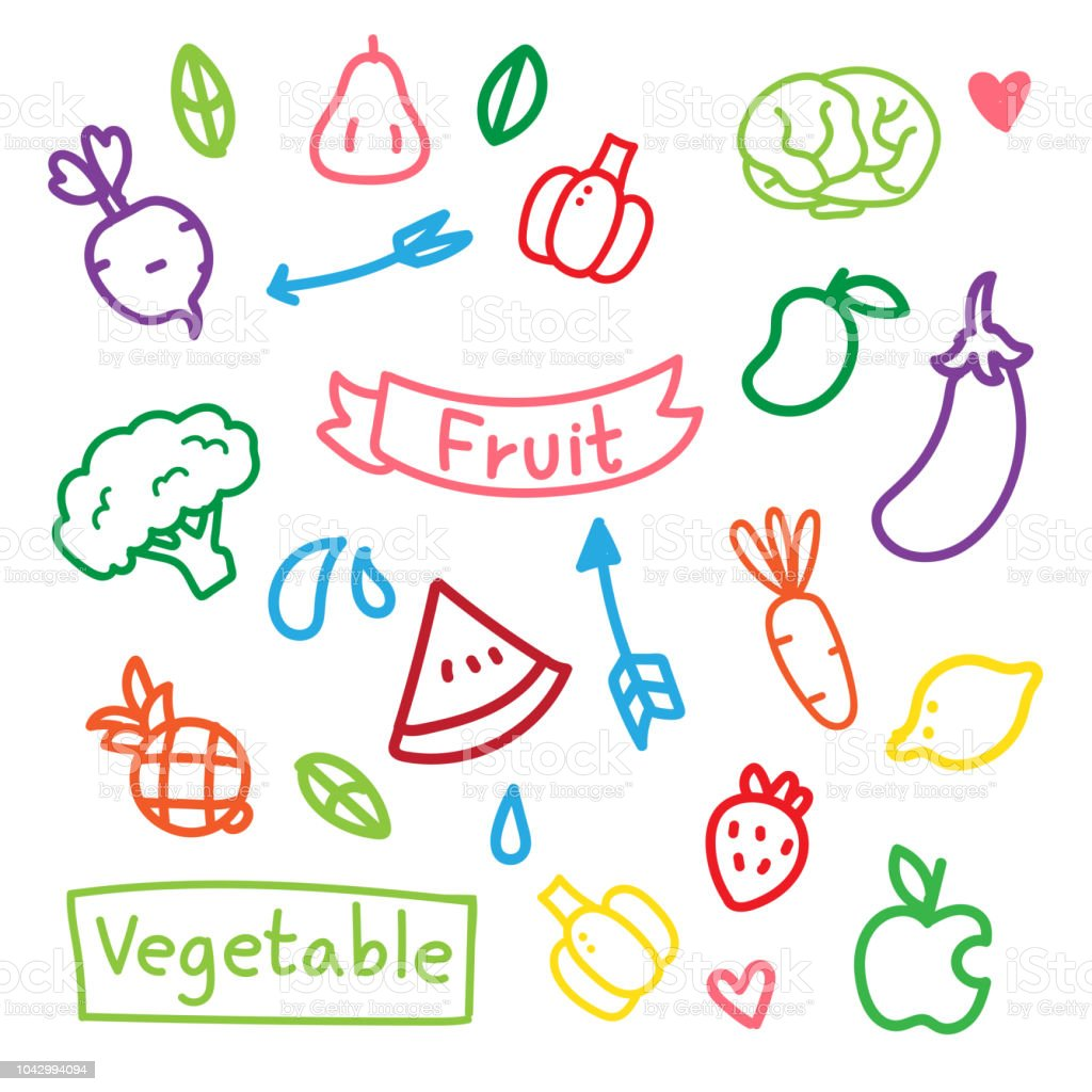 fruit and vegetable vector design vector art illustration
