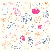 Vector file of the hand drawn fruit and vegetables