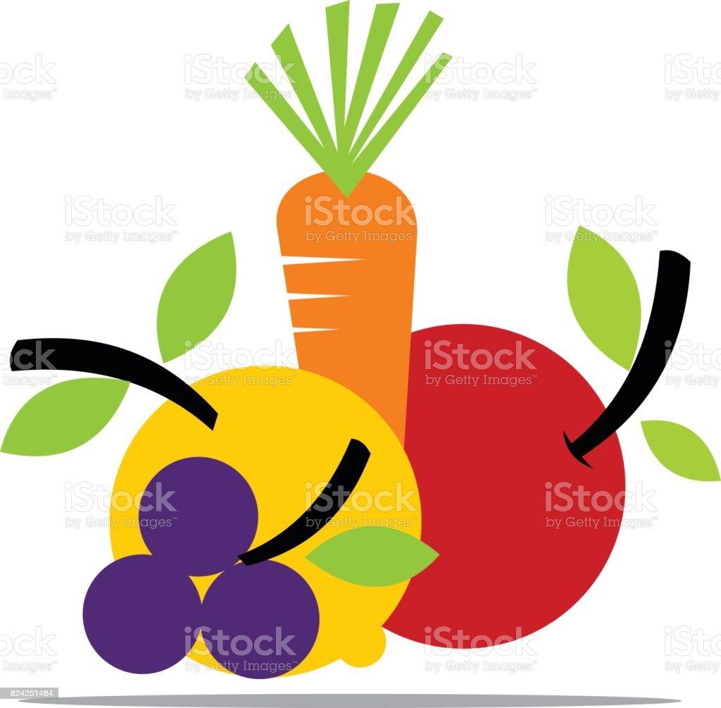 Fruit and Vegetable vector art illustration