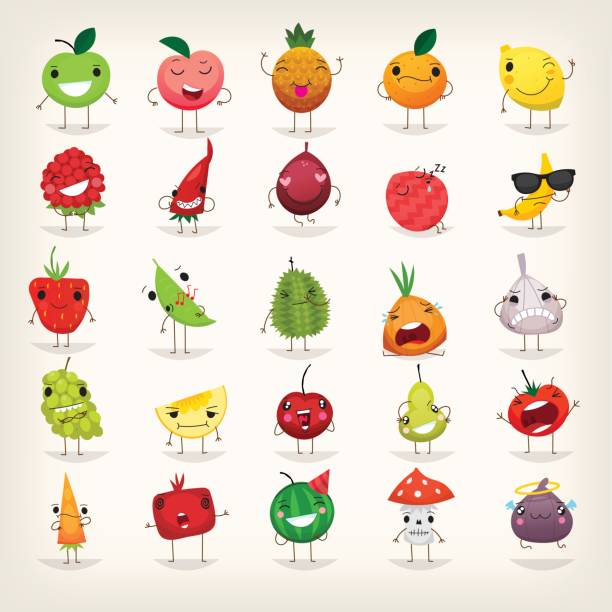 Fruits et légumes emoji - Illustration vectorielle