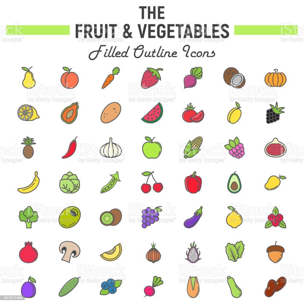 Fruit and Vegetables filled outline icon set vector art illustration