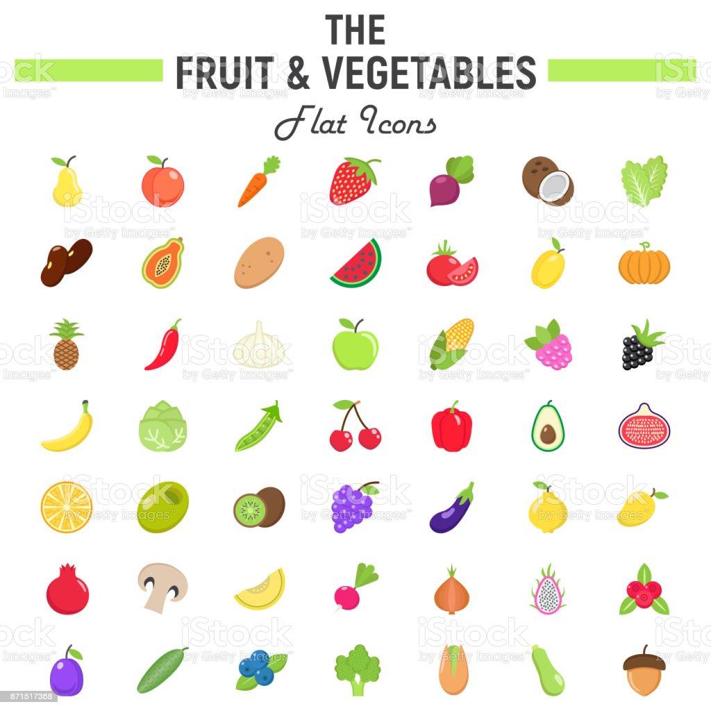 Fruit and Vegetables flat icon set, food symbols vector art illustration