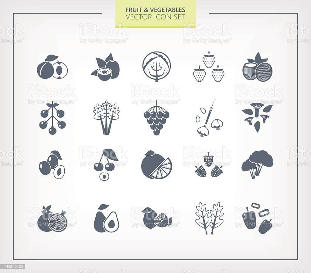 Fruit and Vegetables icon set. Black silhouettes on wihte background. vector art illustration