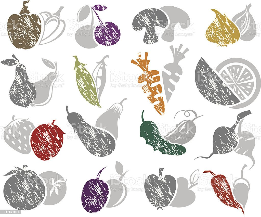 Fruit and Vegetables icon set royalty-free stock vector art