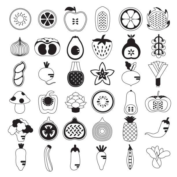 Fruit and Vegetables icon set vector art illustration