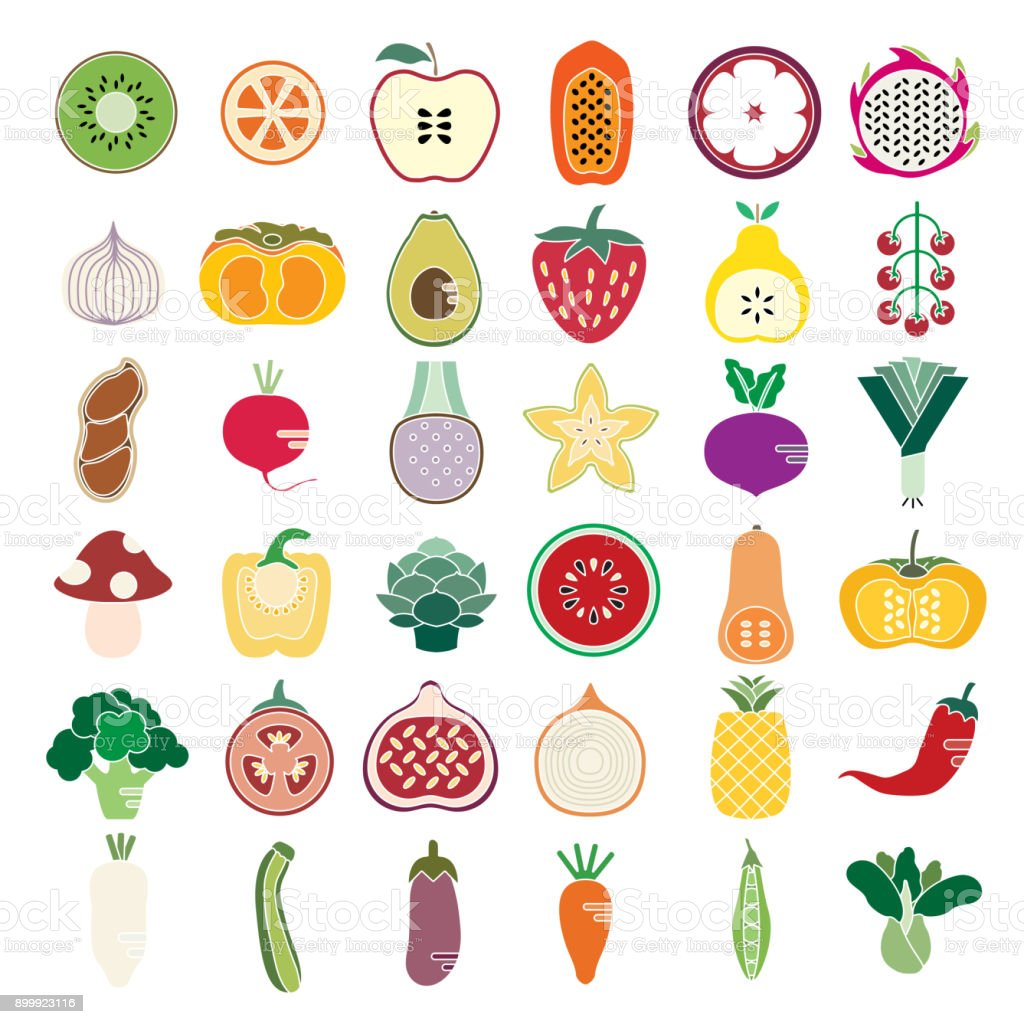 Fruit and Vegetables icon set vector art illustration