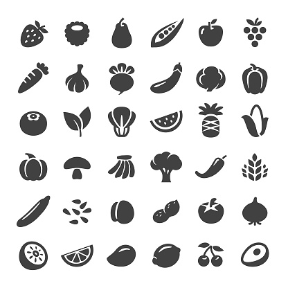 Fruit and Vegetables Icons - Big Series clipart