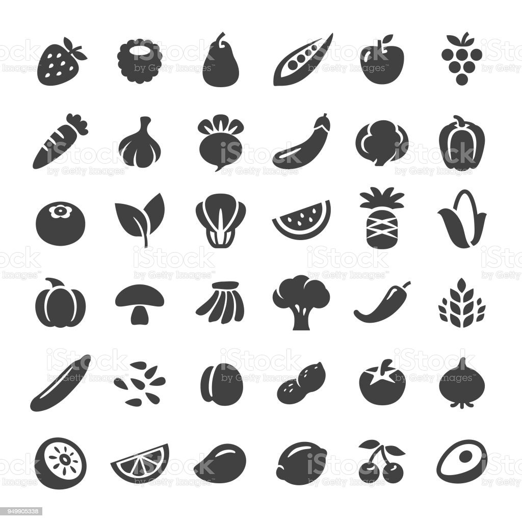 Fruits et légumes Icons - série Big - Illustration vectorielle
