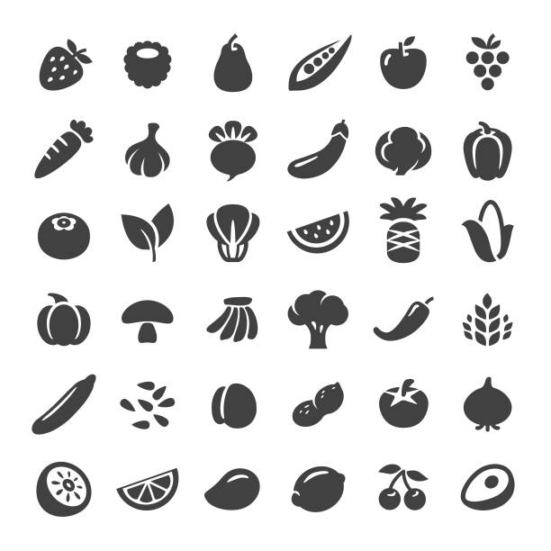 illustrazioni stock, clip art, cartoni animati e icone di tendenza di fruit and vegetables icons - big series - avocado