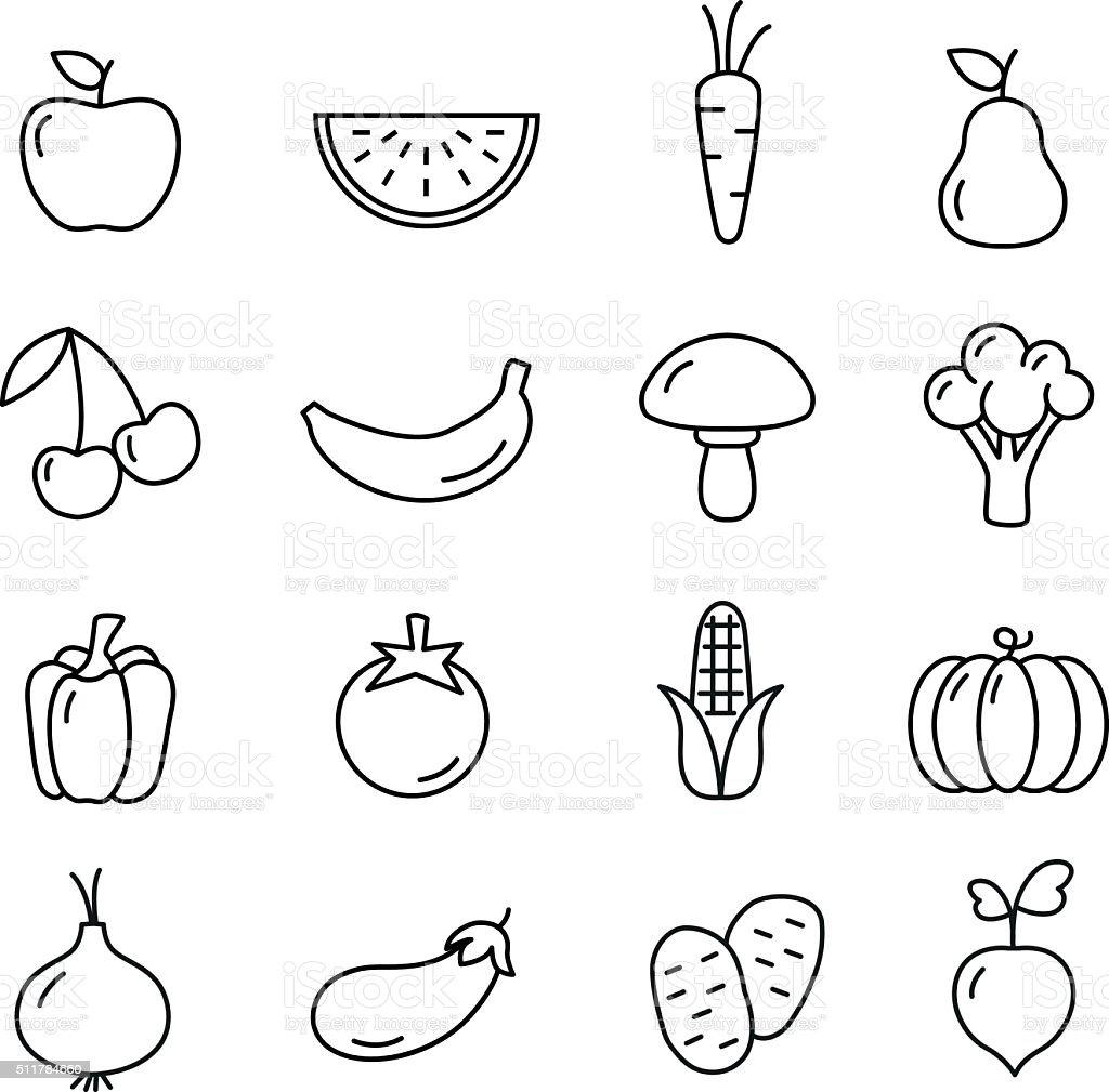 Fruit And Vegetables Icons Set vector art illustration