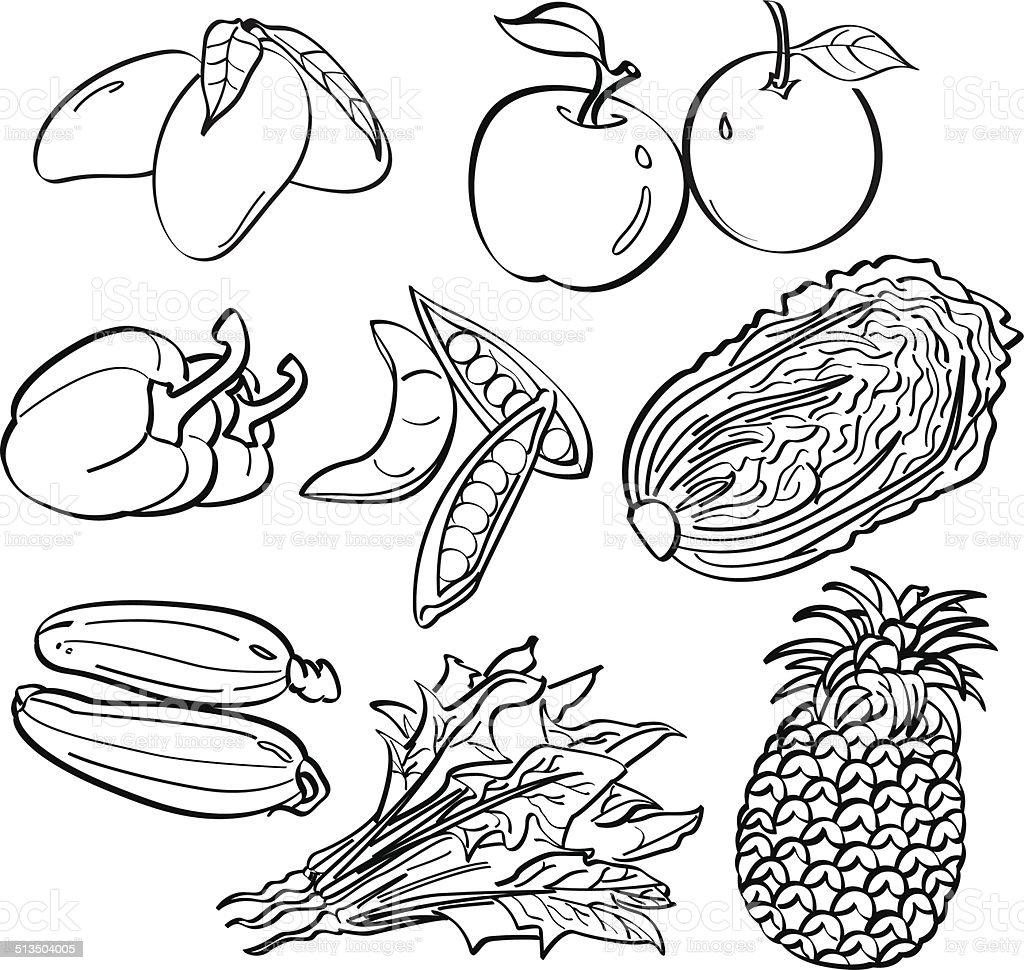 Fruit and Vegetables Set vector art illustration
